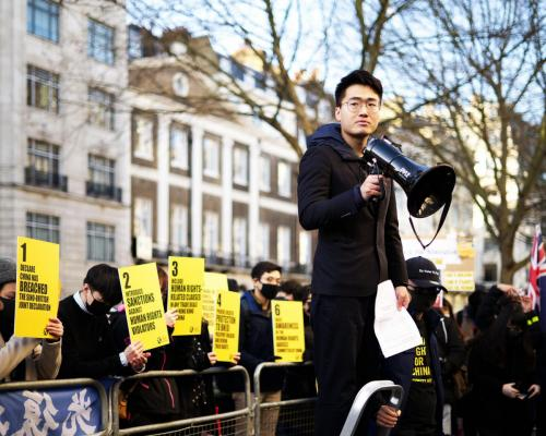 Simon Cheng Man-kit speaking at a rally outside the Chinese embassy, 19 January 2020