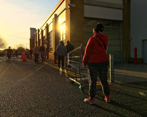 Socially distanced queue for the superstore, 7 April 2020